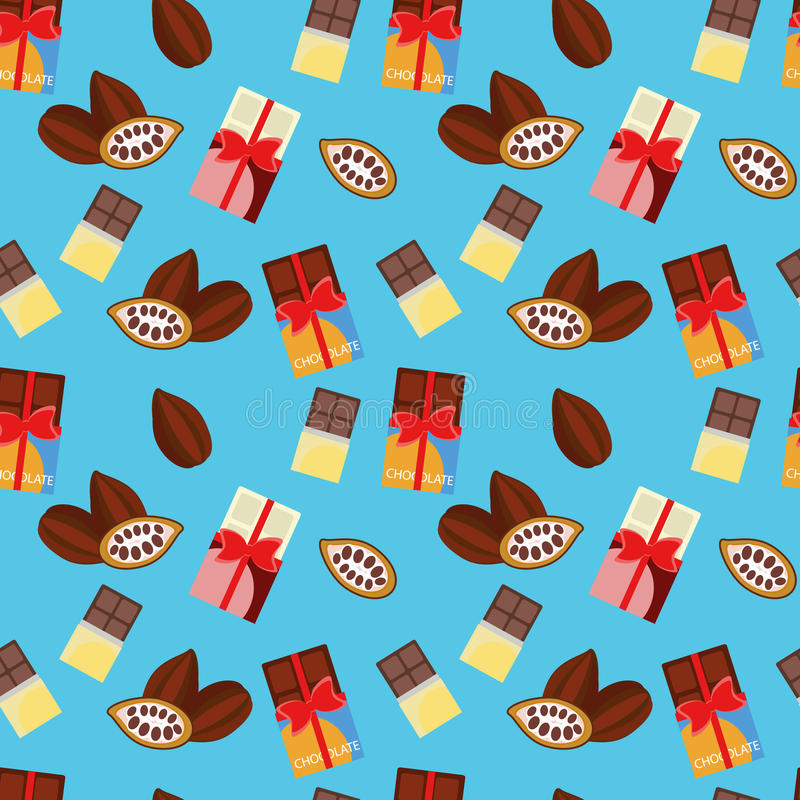 Pattern - chocolate and cocoa beans royalty free stock photography
