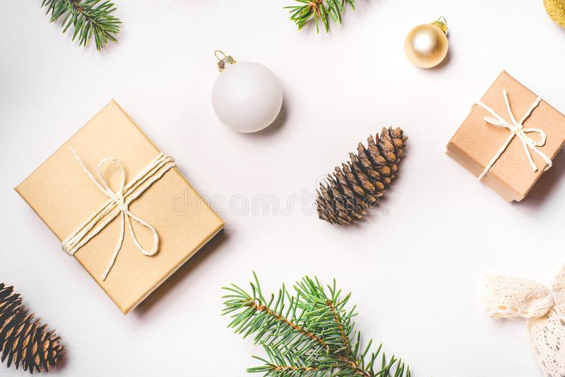Pattern of Christmas decorations on white background. Flat lay, top view royalty free stock photo