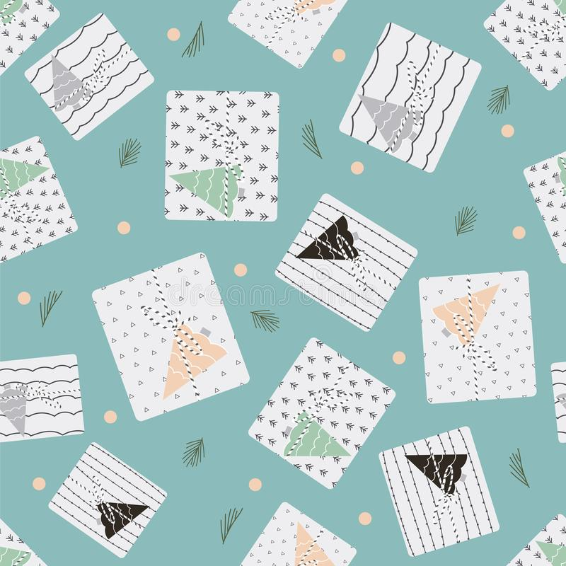 Pattern with christmas presents vector illustration