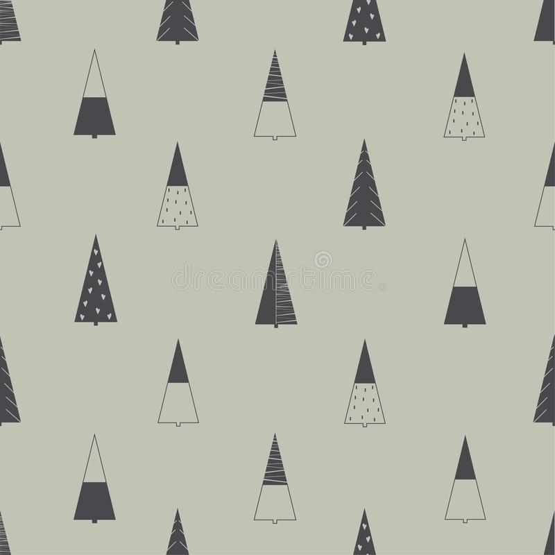 Scandinavian style Christmas tree pattern royalty free illustration