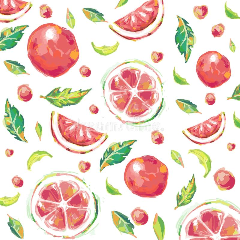 Pattern of citrus grapefruit print, trendy exotic sunny background.Hand-drawn watercolor effect for textile.vector illustration vector illustration