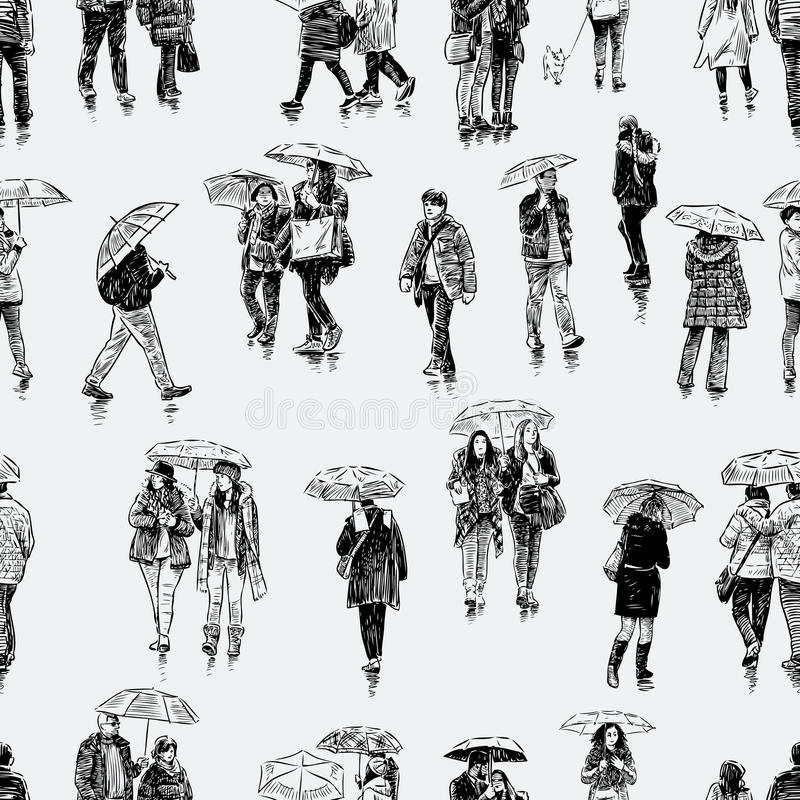 Pattern of the city dwellers in the rain royalty free illustration