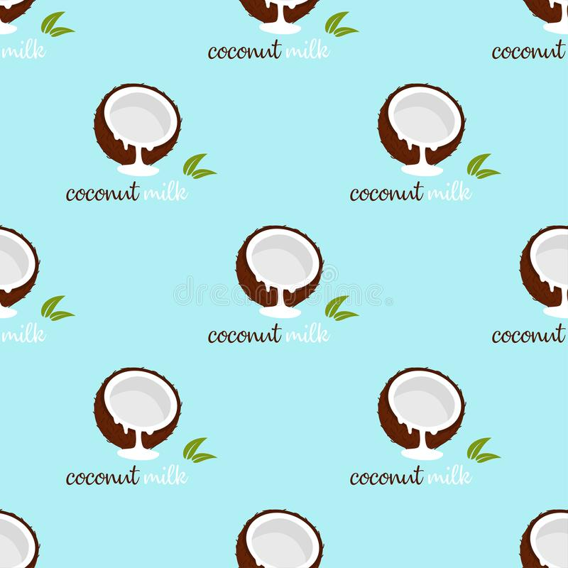 Pattern with coconut milk. Seamless pattern with coconut and coconut milk, leaves and inscriptions, wallpaper with nuts and plants, floral background with tasty vector illustration
