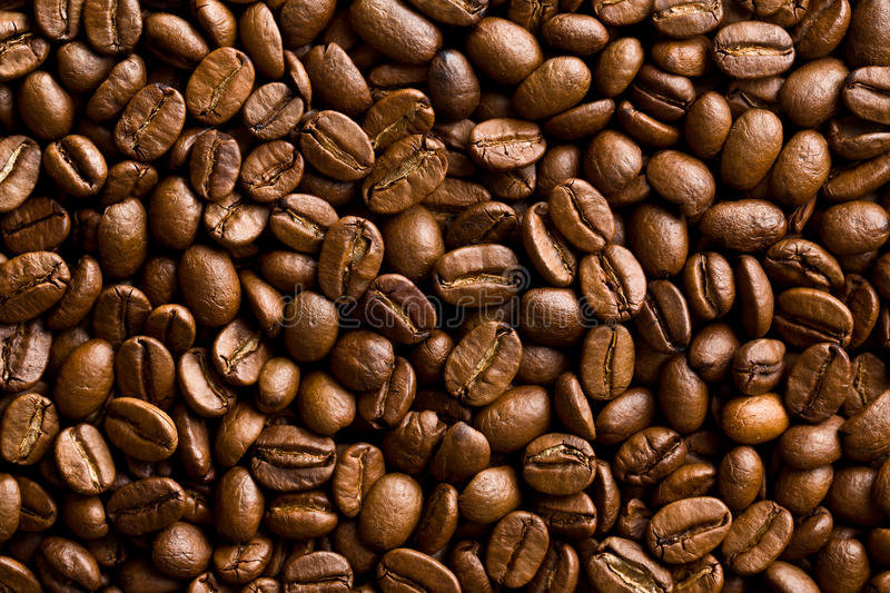 Pattern of coffee beans background stock image