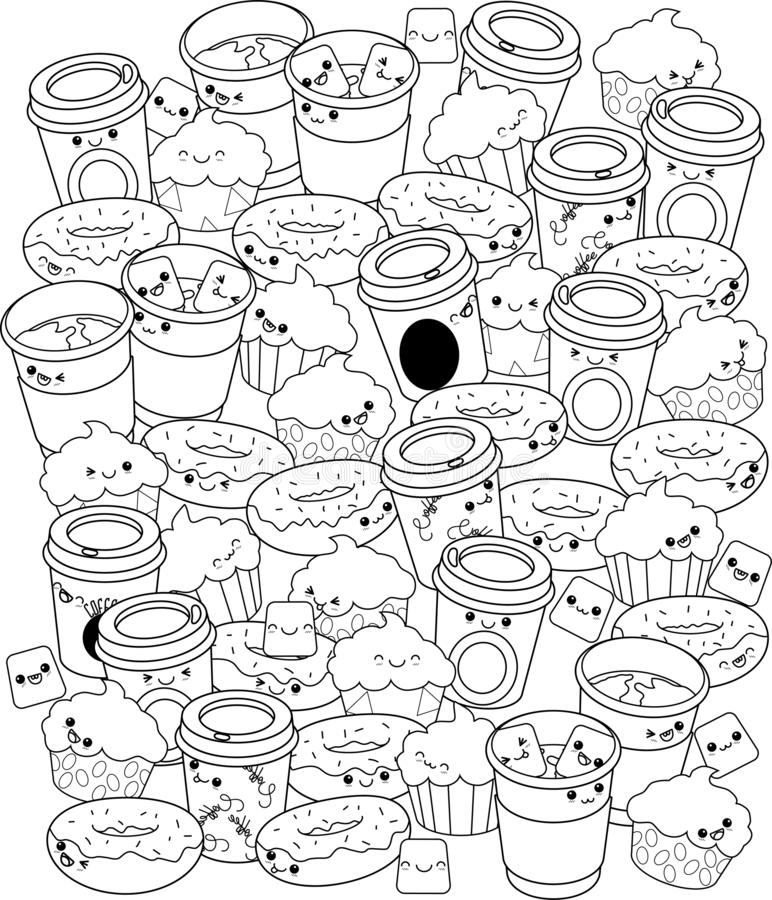Pattern with coffee murshmallows muffins and donutts. With smile without colour vector illustration