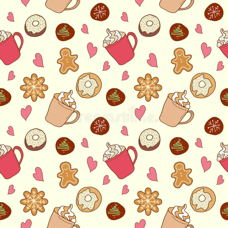 Pattern of coffee and sweets stock photography