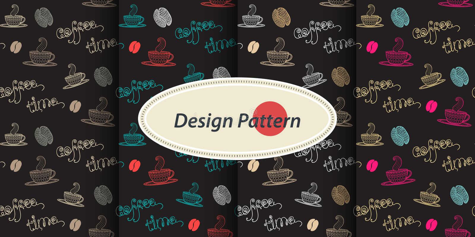 Pattern with Coffee. Coffee time set.Seamless pattern collection with thematic elements mug, cup, coffee, coffee bean,coffee stains,text Coffee time on a color vector illustration