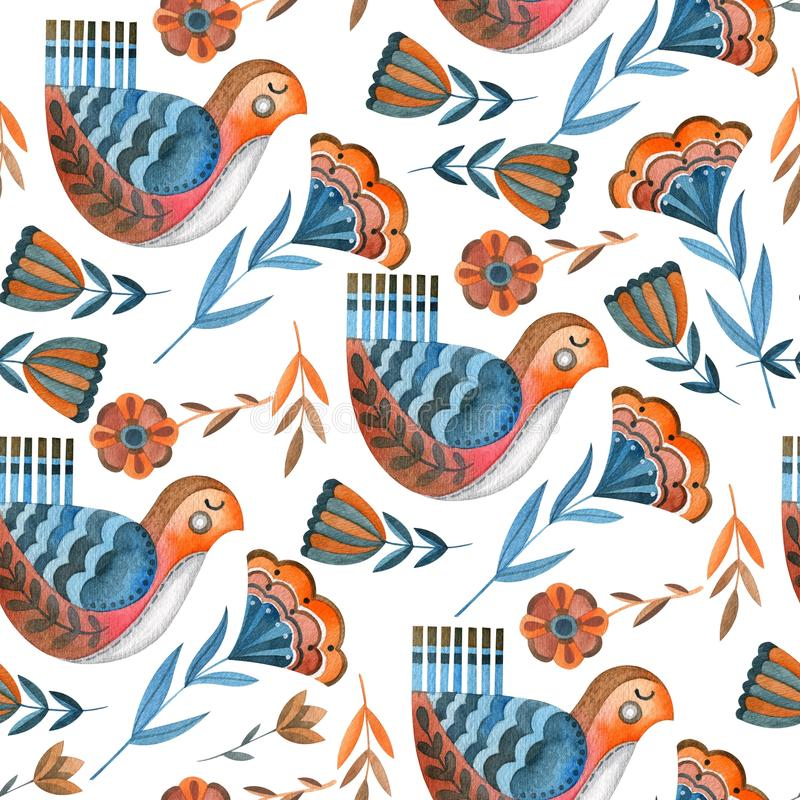 Seamless watercolor pattern of fabulous birds and flowers. Pattern collected from brown-blue birds, flowers and plants. Isolated objects on white background vector illustration