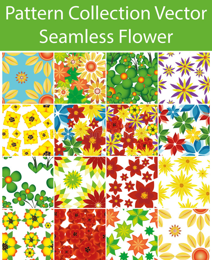 Pattern Collection Vector Seamless Flower vector illustration