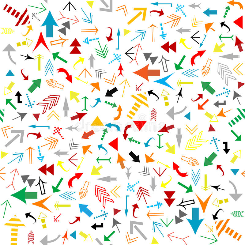 Pattern with colored arrows stock illustration