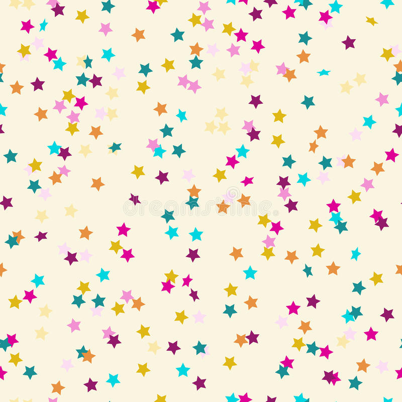 Pattern of colored confetti in the shape of stars royalty free illustration