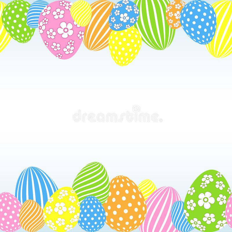 Pattern of colored Easter eggs on a light background Decorative festive empty template for design of card banner poster vector illustration