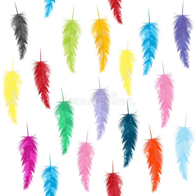 Pattern With Colored Feathers Royalty Free Stock Photos