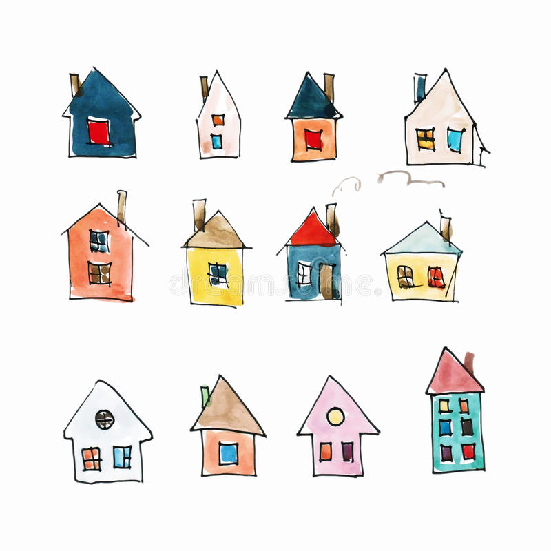 Pattern of colored houses (watercolor) royalty free stock images