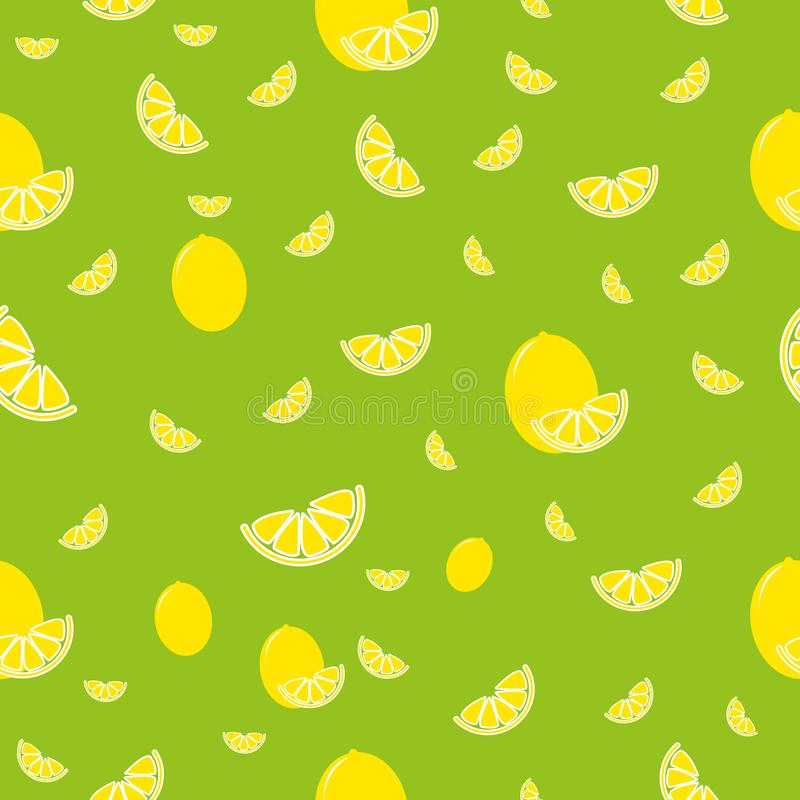 Pattern with colored lemon on green background, background from the cut lemons royalty free illustration