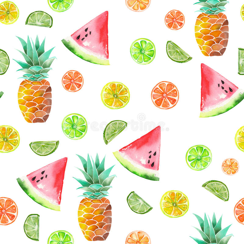 Pattern with the colored watercolor candied fruits, pineapple, lime and watermelon. Painted on a white background stock illustration