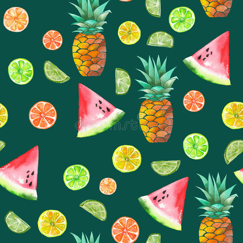 A pattern with the colored watercolor candied fruits, pineapple, lime and watermelon. A seamless pattern with the colored watercolor candied fruits, pineapple vector illustration