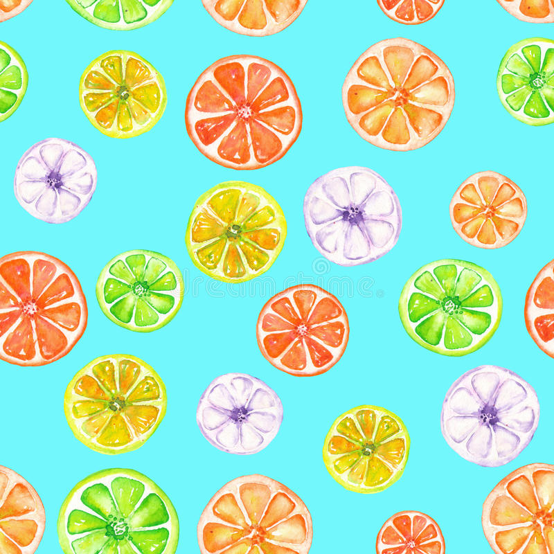 Pattern with colored watercolor candied fruits. Seamless pattern with colored candied fruits painted in watercolor on a turquoise background stock illustration