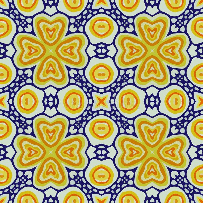 Pattern of colorful abstract mandala shapes 8. Seamless pattern of colorful abstract mandala shapes royalty free illustration