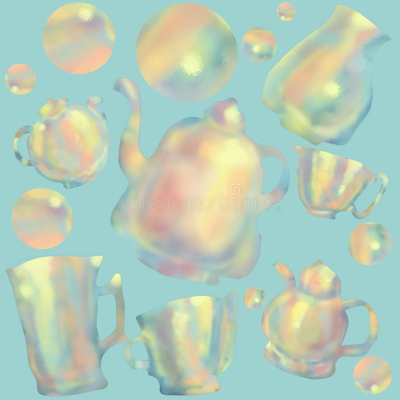 Pattern with colorful cups and teapots. Tea ceremony. Blue background stock illustration