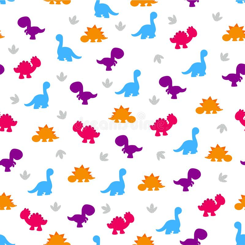Pattern of colorful dinosaurs. Cute kids pattern, colorful dinosaurs on the abstract grunge background create a fun cartoon drawing, the background is made in stock illustration