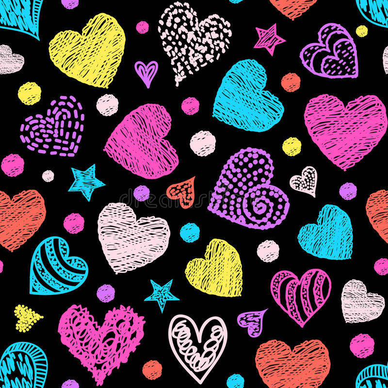 Pattern with colorful hearts. stock illustration