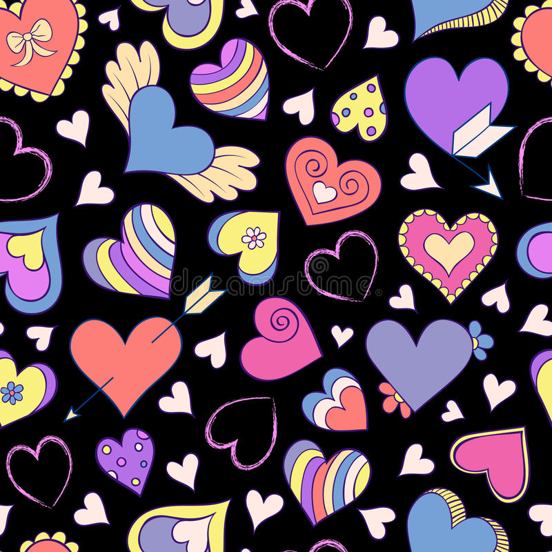 Pattern with colorful hearts royalty free illustration