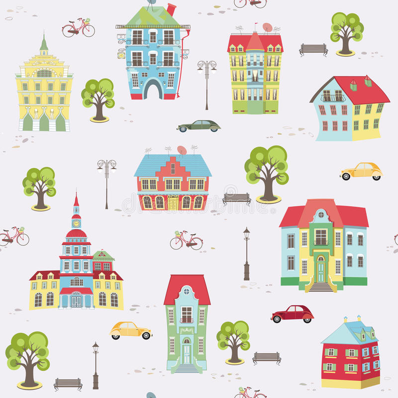 Pattern with colorful houses. Vector seamless pattern with city landscape royalty free illustration