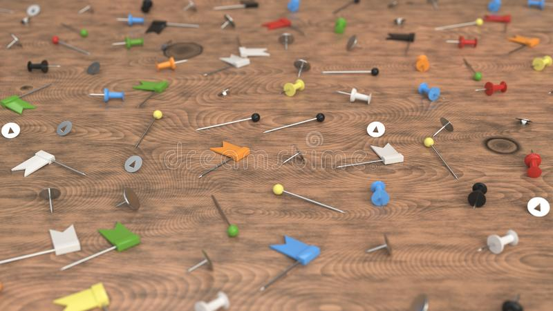 Pattern from colorful push pins on wooden background. Pattern from different types of colorful push pins, needles and nails on wooden background. Abstract vector illustration