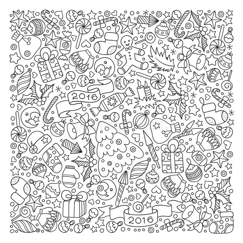 Pattern For Coloring Book. Christmas Hand-drawn Decorative Eleme ...