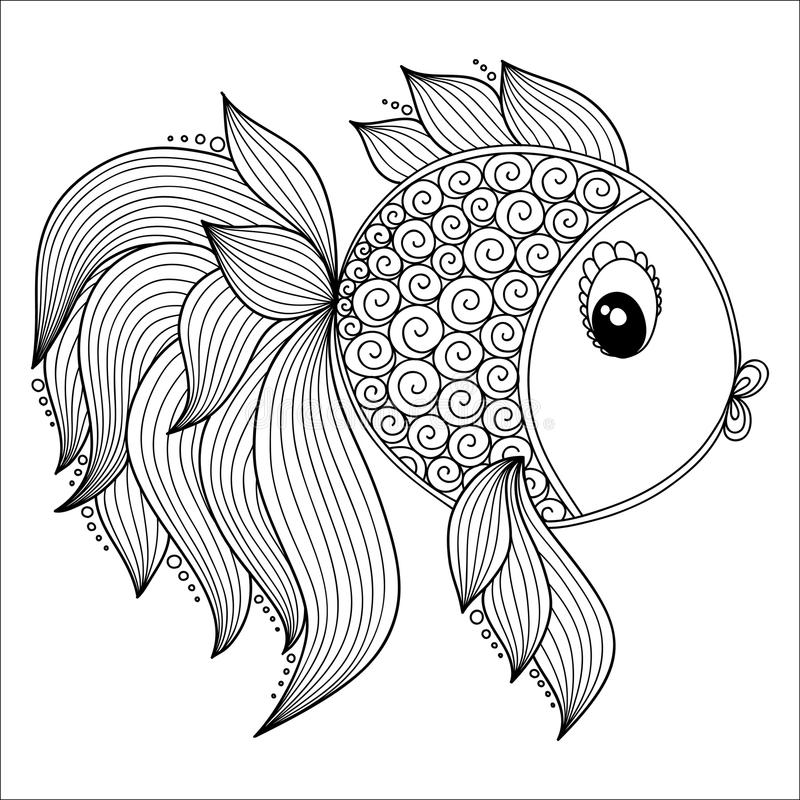 Pattern for coloring book. Cute Cartoon Fish. Pattern for coloring book. Coloring book pages for kids and adults. Vector Cute Cartoon Fish. Henna Mehndi Tattoo