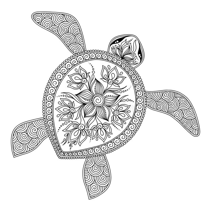 Pattern for coloring book. Decorative graphic turtle. vector illustration