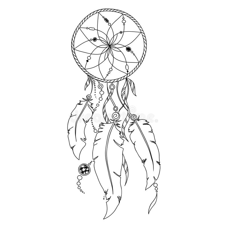 Download Pattern For Coloring Book Dream Catcher Stock Vector