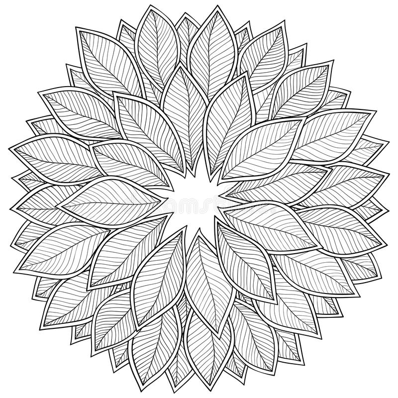 Download pattern for coloring book leaves stock vector illustration of doodle drawn