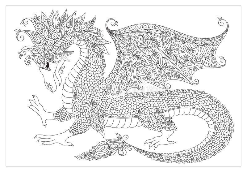 Pattern for coloring book. Vector cartoon dragon. Hand drawn. Black, white. Doodle sketch. Zen tangle henna tattoo. Adults coloring book page stock illustration
