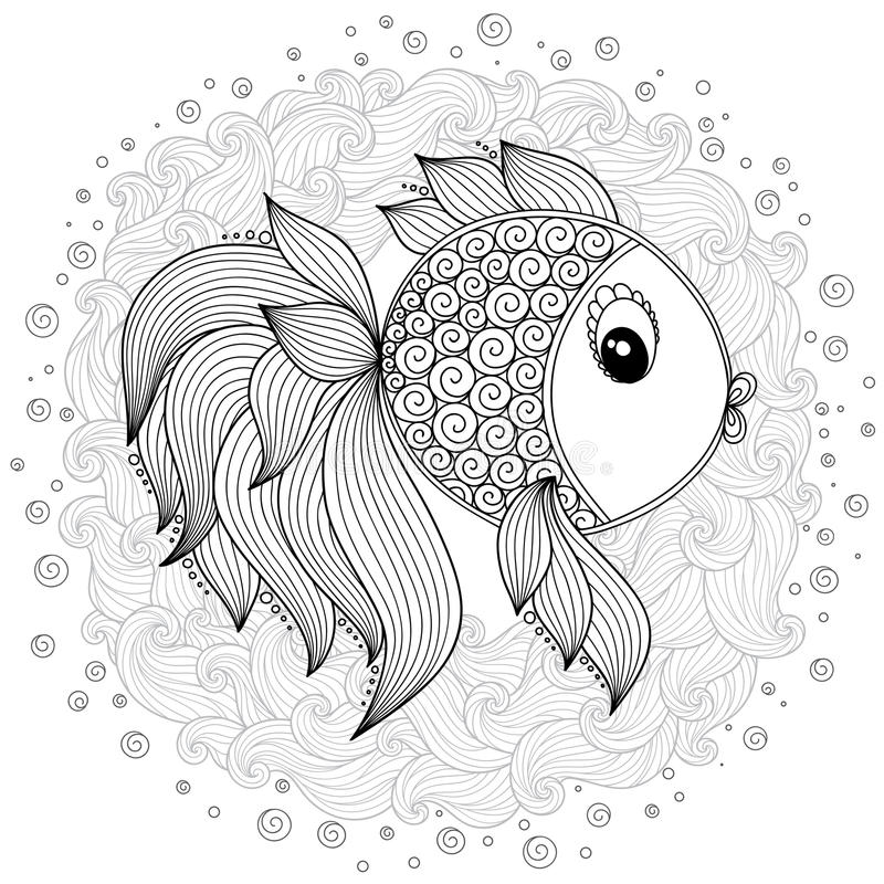 Download Pattern For Coloring Book Vector Cute Cartoon Fish Stock