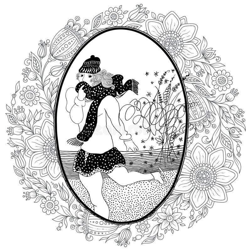 Pattern for coloring book. Vintage girl skates. vector illustration