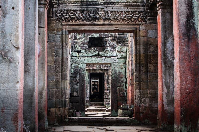 Pattern of columns, doorways in Angkor Wat royalty free stock photography