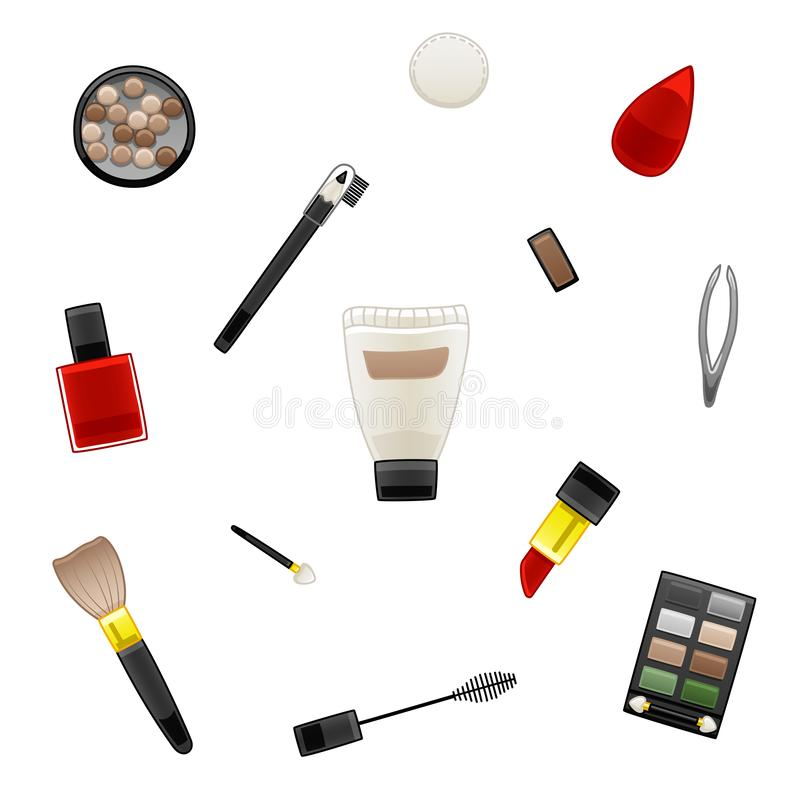 Pattern of various cosmetics vector illustration