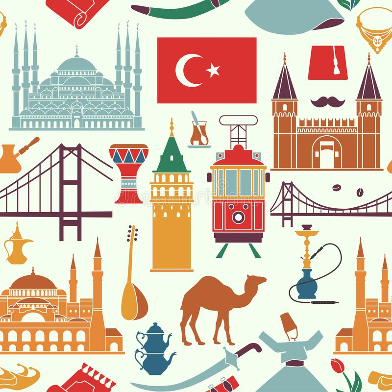 Pattern of country Turkey culture and traditional symbols. Seamless background vector illustration