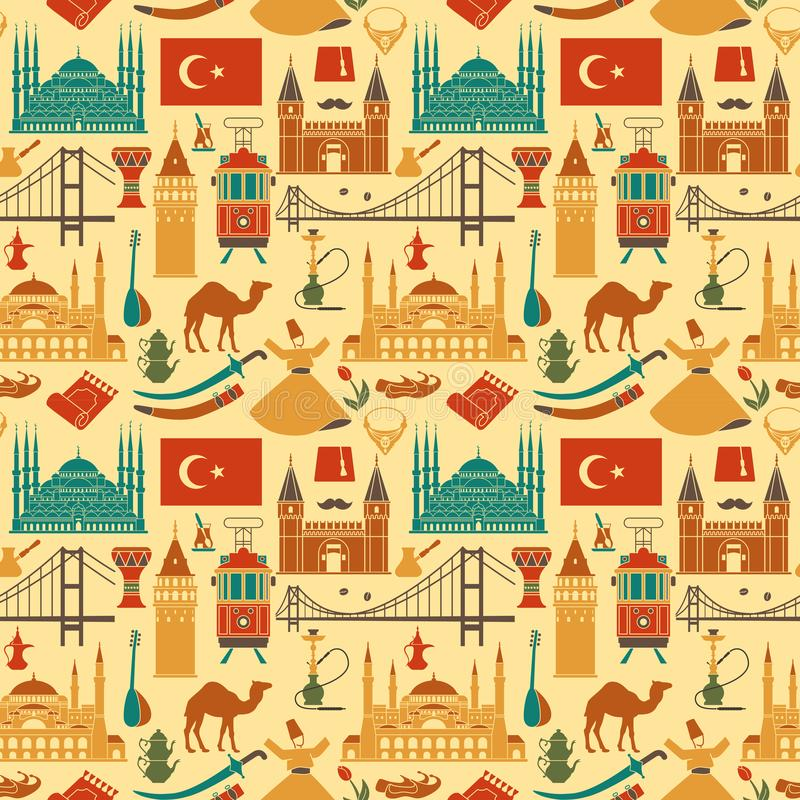Pattern of country Turkey culture and traditional symbols. Seamless background royalty free illustration