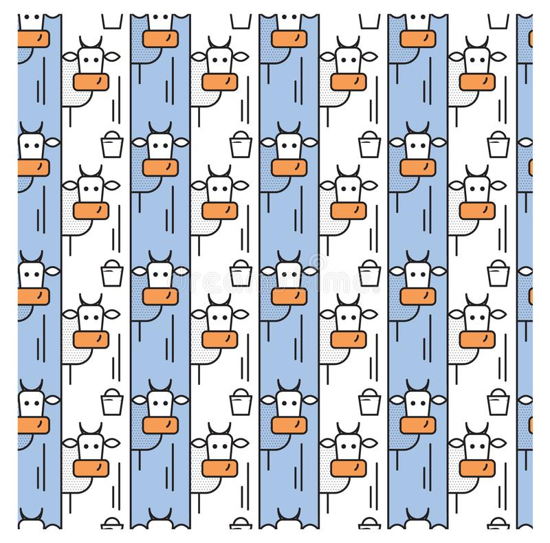 Pattern with cows and a bucket of milk stock illustration