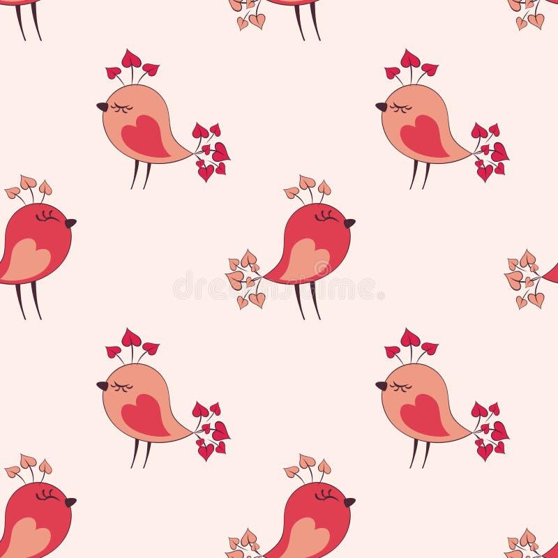 Pattern with cute birds. Valentine seamless pattern with cute birds. Vector illustration isolated on a white background vector illustration