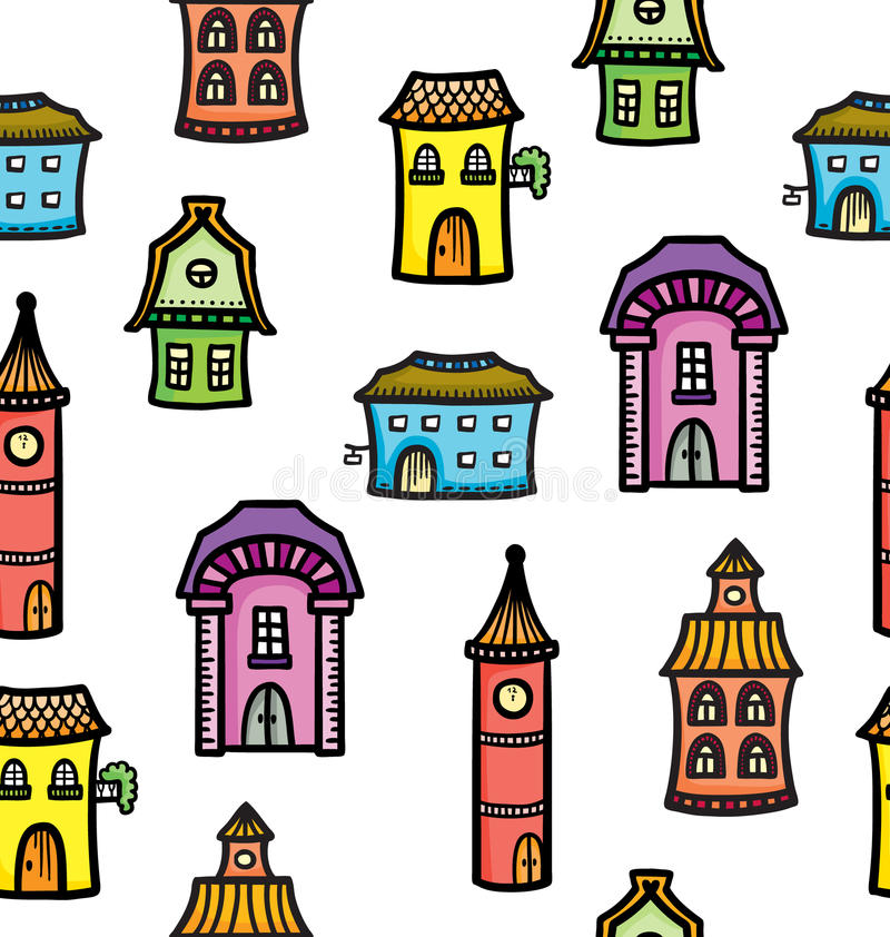 Pattern with cute cartoon colorful houses vector illustration