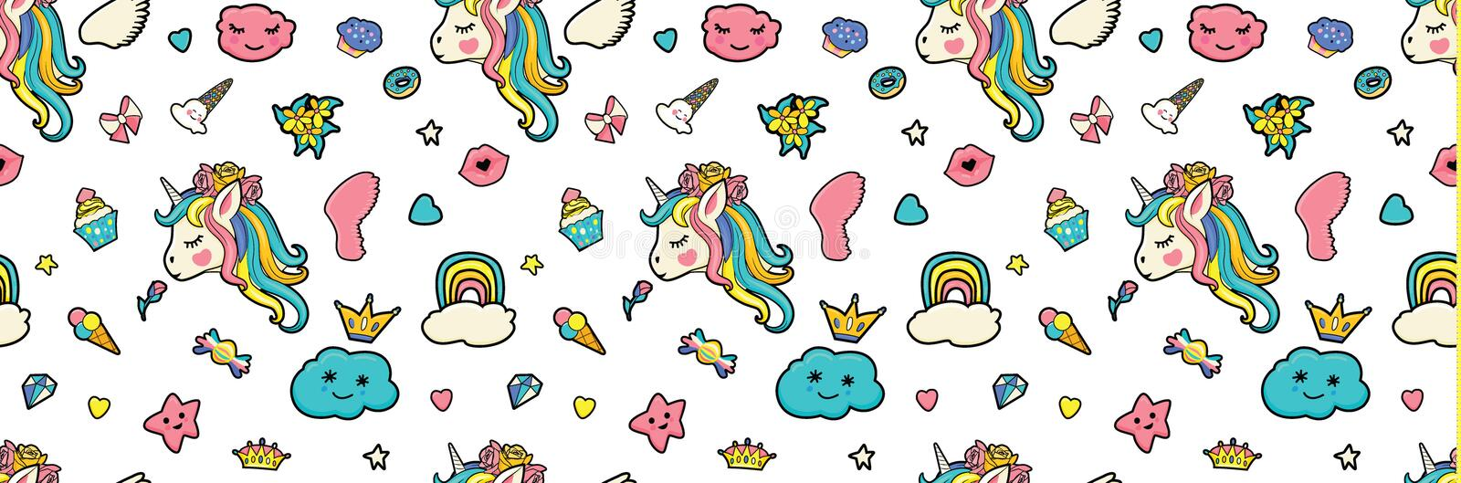 Pattern with cute faces of unicorns, ice cream, stars, hearts, donut, rainbow, crowns, cupcake vector illustration