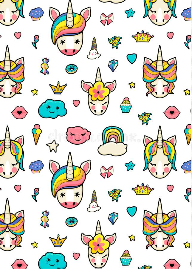 Pattern with cute faces of unicorns, ice cream, stars, hearts, donut, rainbow, crowns, cupcake stock illustration