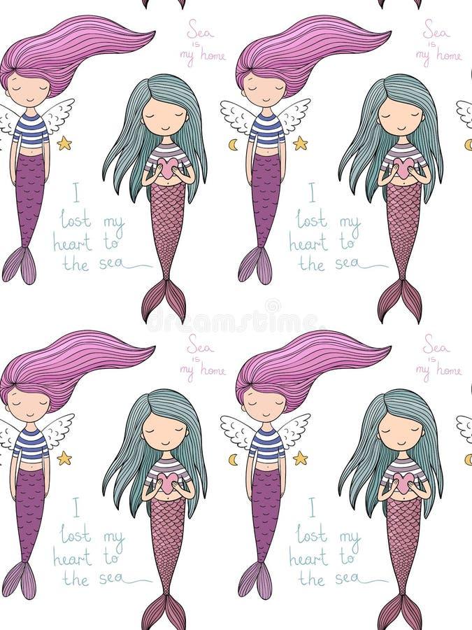 Pattern with cute little mermaid. Siren. Sea theme. vector illustration