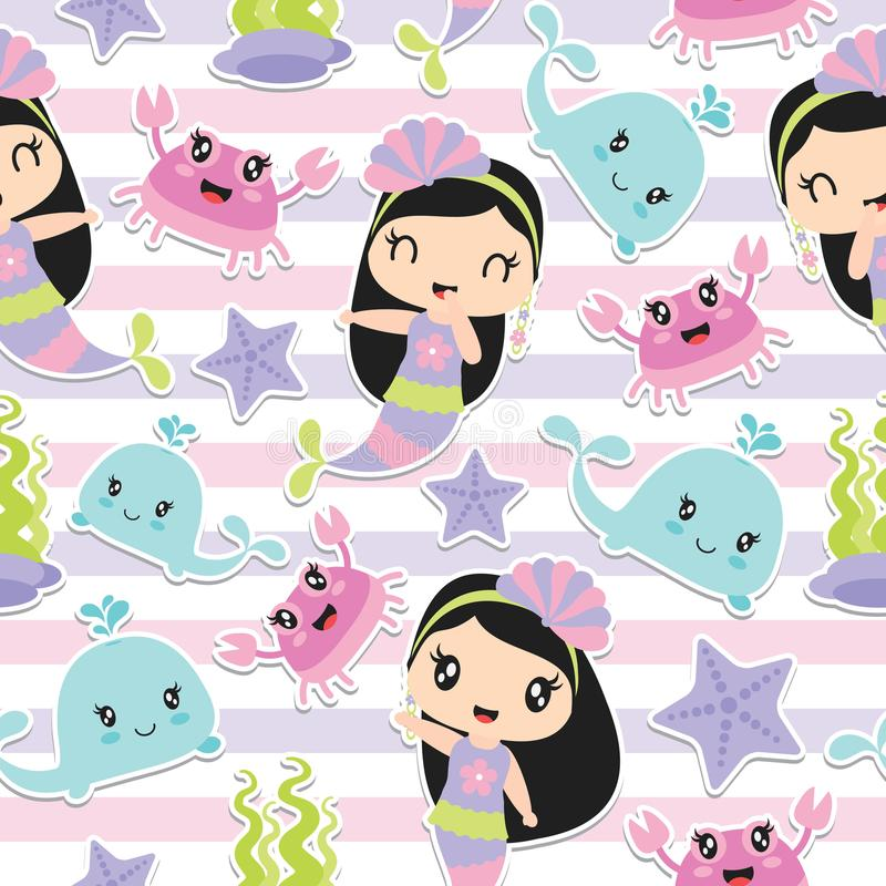 Pattern of cute mermaid girl and sea elements on striped background vector cartoon vector illustration