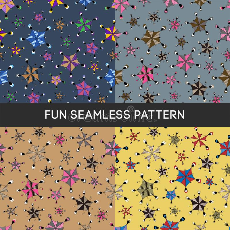 PATTERN 15 Cute seamless vector pattern with funny figures royalty free illustration