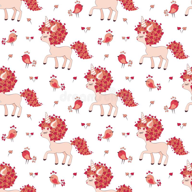 Pattern with cute unicorns. Valentine seamless pattern with cute unicorns and birds. Vector illustration isolated on a white background royalty free illustration